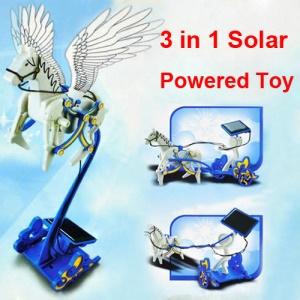 3 in 1 DIY Solar Powered Horse Cart Educational Toy for Kids