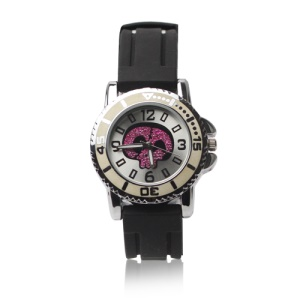 Fashion Purple Skull Heads Boys Girls Digital Wrist Watch - Black Band