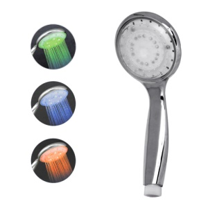 Temperature Sensor RGB Light LED Shower Head Sprinkler (15 LEDs)
