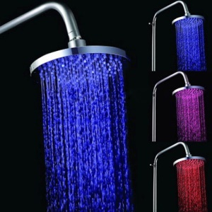 Round Temperature Sensor LED Shower Head 3-Color 126 LEDs