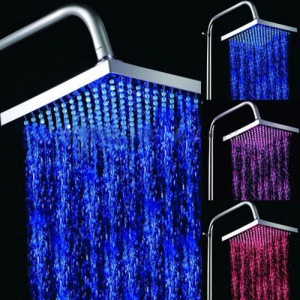 Square 3-Color Temperature Sensor LED Shower Head (Blue / Pink / Red) 144 LEDs