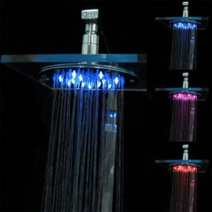Square Glass Temperature Sensor 3-Color LED Shower Head (Blue / Pink / Red)