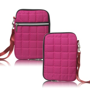 7.8 inch Soft Grid Zipper Carrying Bag Case for Samsung P6800 P6200 Asus Google Nexus 7 - Rose