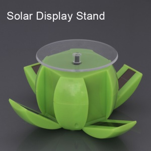 Foldable Rotating Solar Powered Display Stand Turn Table for Phone Jewelry Watch etc - Green