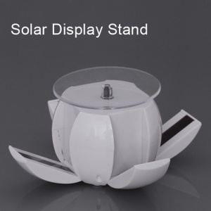 Foldable Rotating Solar Powered Display Stand Turn Table for Phone Jewelry Watch etc - White