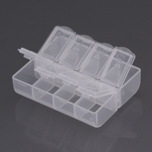 Portable Storage Box 8 Compartment Plastic Tool Case (Size: 7.5 x 6.5 x 2.2cm)(E-301-1)