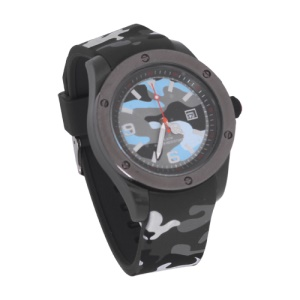 Unisex Hidden Camouflage Silicon Rubber Strap Quartz Digital Watch - Grey