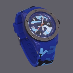 Unisex Hidden Camouflage Silicon Rubber Strap Quartz Digital Watch - Dark Blue