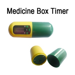 Portable Yellow Green Medicine Capsule Style Box Timer Reminder