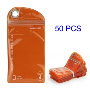 50PCS/Pack Plastic Zip-lock Packaging Bag with Hang Hole for iPhone 5 Samsung i9300 Cases, Size: 16 x 9.5cm - Orange