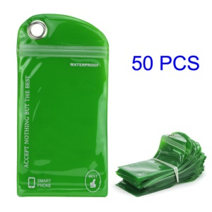 50PCS/Pack Plastic Zip-lock Packaging Bag with Hang Hole for iPhone 5 Samsung i9300 Cases, Size: 16 x 9.5cm - Green