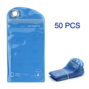 50PCS/Pack Plastic Zip-lock Packaging Bag with Hang Hole for iPhone 5 Samsung i9300 Cases, Size: 16 x 9.5cm - Blue
