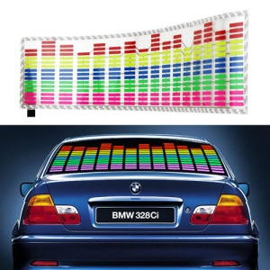 EL Panel Music Sound Activated Car Sticker Equalizer Glow Flash Light, 70cm x 16cm