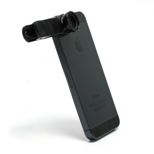 Universal Clip 3 in 1 Fisheye-lens & Wide-angle & Macro Lens Kit for iPhone / iPad / Samsung / HTC / LG Phone - Black