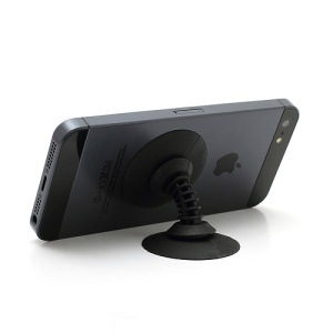 Powerful Dual Suction Silicone Stand Holder Cable Winder for iPhone Samsung etc - Black