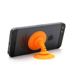 Dual Suction Silicone Holder Mount Cable Winder for iPhone Smartphones etc - Orange
