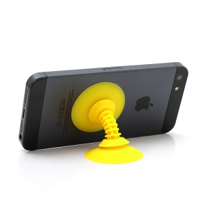 Dual Suction Silicone Stand Holder Cable Winder for iPhone Smartphones etc - Yellow