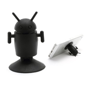 Cute Android Robot Suction Silicone Stand Holder for iPhone Samsung Smartphones etc - Black