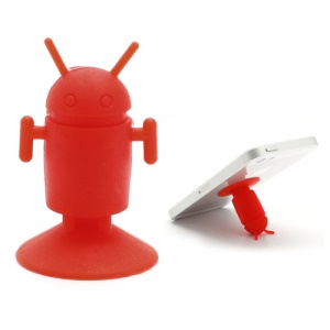 Cute Android Robot Suction Silicone Stand Holder for iPhone Samsung Smartphones etc - Red