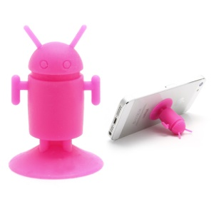 Cute Android Robot Suction Silicone Stand Holder for iPhone Samsung Smartphones etc - Rose