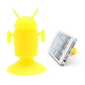Cute Android Robot Suction Silicone Stand Holder for iPhone Samsung Smartphones etc - Yellow