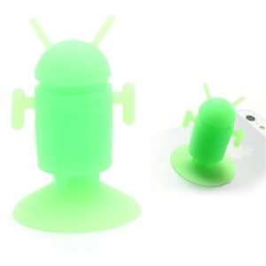 Cute Android Robot Suction Silicone Stand Holder for iPhone Samsung Smartphones etc - Green