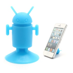Cute Android Robot Suction Silicone Stand Holder for iPhone Samsung Smartphones etc - Blue
