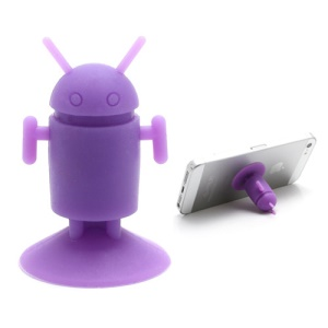 Cute Android Robot Suction Silicone Stand Holder for iPhone Samsung Smartphones etc - Purple