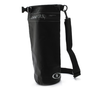 5L Outdoor Durable Waterproof Dry Bag Pouch with Shoulder Strap - Black