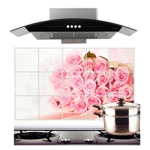 Rose Flower Kitchen Sheet Water Oil Hot Proof Fucntion, Size: 750 x 450cm