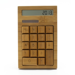 Novel Flat Handcrafted 18 Key Natural Bamboo Wooden Solar Power Calculator