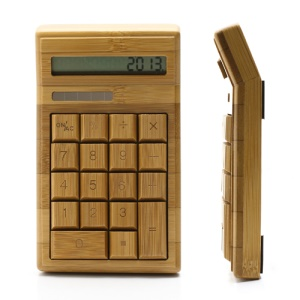 Tilt Head Handcrafted 18 Key Natural Bamboo Wooden Solar Power Calculator