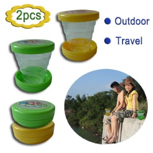 2 Pcs Portable Retractable Magic Cup for Travel or On Business