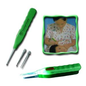 Flashlight EarPick Ear Wax Remover Curette + Tweezers