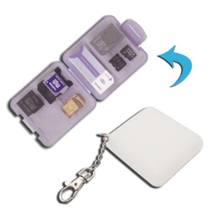 Portable Mini Micro SD SIM Memory Card Holder Case with Keychain