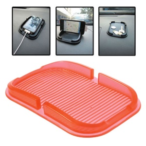 Multi-function Silicone Non-Slip Mat Dashboard Mat Pad Cellphone Holder, Inner Size: 150mm x 85mm - Red