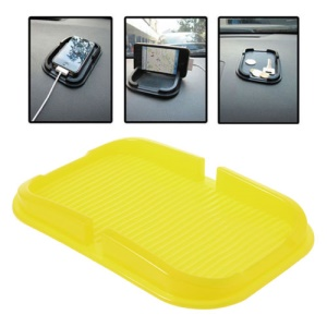 Multi-function Silicone Non-Slip Mat Dashboard Mat Pad Cellphone Holder, Inner Size: 150mm x 85mm - Yellow