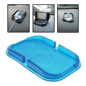 Multi-function Silicone Non-Slip Mat Dashboard Mat Pad Cellphone Holder, Inner Size: 150mm x 85mm - Blue
