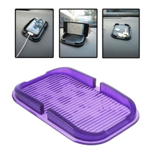 Multi-function Silicone Non-Slip Mat Dashboard Mat Pad Cellphone Holder, Inner Size: 150mm x 85mm - Purple