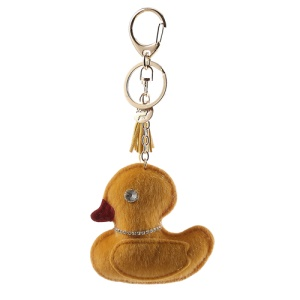 Soft Plush Duck Diamante Charm Key Chain Ring - Yellow