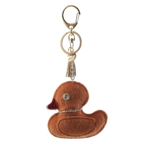 Charm Diamond Cute Plush Duck Key Chain Pendant - Brown