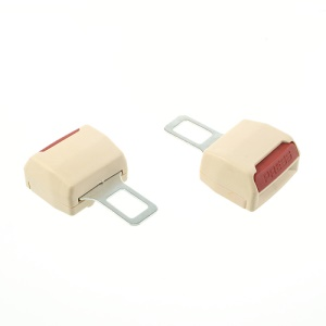 2PCS Auto Car Seat Safety Belt Buckle Extender Alarm Stopper - Beige