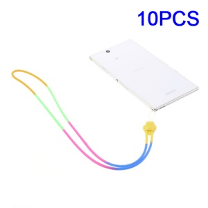 10Pcs/Pack Android Knot Silicone Strap Cord for Cell Phone Keychains MP3 Etc, Length: 43cm - Yellow