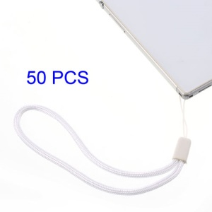 50Pcs/Pack Wrist Strap Cord for Cell Phone Keychains MP3 Etc, Length: 8cm - White