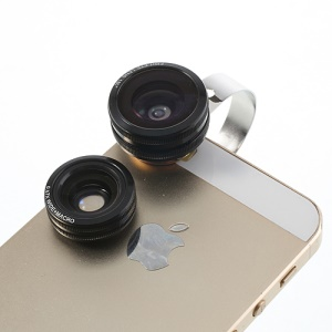 Black 3 in 1 Universal 180 Degree Fisheye Lens + 0.67X Wide Lens + Macro Lens Kit for iPhone Samsung HTC Sony LG Etc