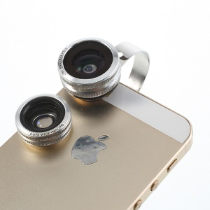 Silver 3 in 1 Universal 180 Degree Fisheye Lens + 0.67X Wide Lens + Macro Lens Kit for iPhone Samsung HTC Sony LG Etc