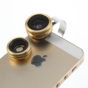 Gold 3 in 1 Universal 180 Degree Fisheye Lens + 0.67X Wide Lens + Macro Lens Kit for iPhone Samsung HTC Sony LG Etc