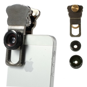 Universal Clip 3 in 1 Fish Eye Lens + Wide-angle & Macro Lens Kit for iPhone iPad Samsung HTC LG Phone - Silver