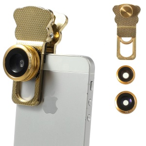 Universal Clip 3 in 1 Fish Eye Lens + Wide-angle & Macro Lens Kit for iPhone iPad Samsung HTC LG Phone - Gold