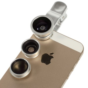 4 in 1 LieQi LQ-008 Universal Clip + Circular Filter Lens + Fish Eye Lens + Wide-angle & Macro Lens Kit for iPhone iPad Samsung LG - Silver
